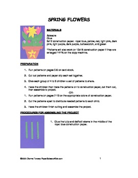 Downloadable Spring Flowers Cut and Paste Art Project Pattern Packet
