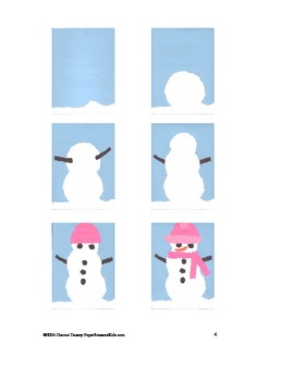 Downloadable Torn Snowman Cut and Paste Pattern Packet