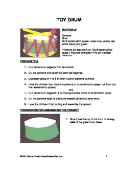 Downloadable Toy Drum Cut and Paste Pattern Packet