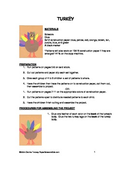 Downloadable Turkey Paste Pattern Packet