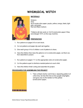 Downloadable Whimsical Witch Cut and Paste Art Project Pattern Packet