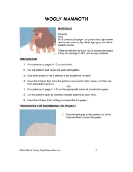 Downloadable Wooly Mammoth Cut and Paste Art Project Pattern Packet
