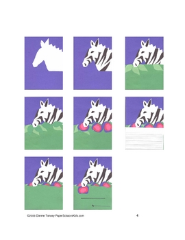 Downloadable Zebra Cut and Paste Art Project Pattern Packet