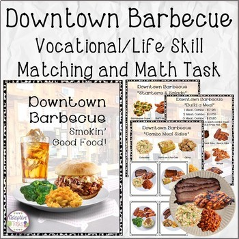#SPEDCHRISTMAS3 Downtown Barbecue Vocational/Life Skill, Matching and Math Task