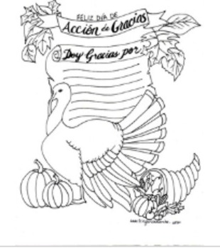 Doy Gracias: A Thanksgiving Turkey Coloring & Writing Page
