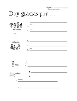 Doy Gracias ( I am thankful for..)