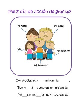 Doy gracias por- Thanksgiving Spanish activity packet