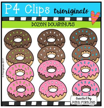 Dozen Doughnuts {P4 Clips Trioriginals Digital Clip Art}