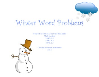 Dozen Winter Word Problems - Real Life Math Problem Solving CCSS Aligned