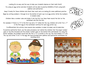 """Addition and Subtraction Fact Practice: An """"Egg-cellent"""" Math Activity"""