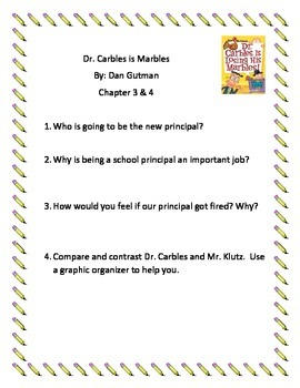 Dr. Carbles is Losing His Marbles Guided Reading Packet