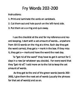Dr Fry Word Phrases-Ring and Checklists (Words 1-200)