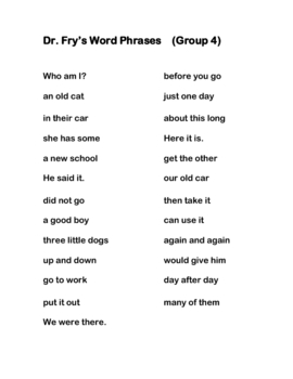 Dr. Fry word phrases and word cards