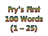 Dr. Fry's First 100 Vocabulary Sight Words (1 - 100)