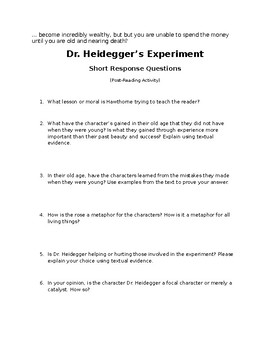 Dr Heidegger S Experiment Pre And Post Reading Activities By Daniel Smith