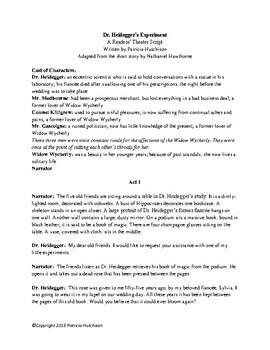 """Dr. Heidegger's Experiment"" A Readers' Theater Adaptation"