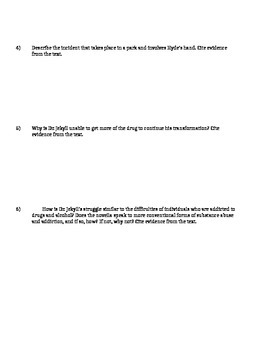Dr. Jekyll and Mr. Hyde Ch. 10 Reading Comprehension Questions