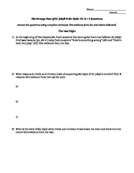 Dr. Jekyll and Mr. Hyde Ch. 8 - 9 Reading Comprehension Questions