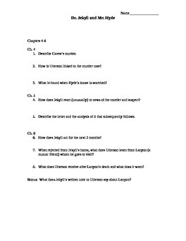 Dr Jekyll and Mr. Hyde Chapter Quizzes