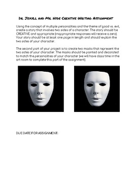 Dr. Jekyll and Mr. Hyde Creative Writing and Mask Design