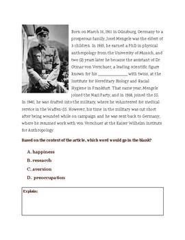 Dr. Josef Mengele:The Cruelest Doctor of the Holocaust Cloze Reading Activity