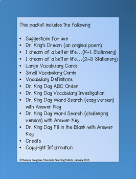 Martin Luther King Jr Dr King S Dream By Theresa S Teaching Tidbits