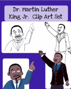 Dr. Martin Luther King Clip Art (2 Different Images, 8 Files) Clear Backgrounds