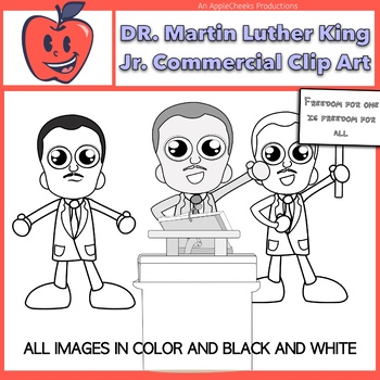 Dr. Martin Luther King Jr. Cartoon Clipart Commercial Use Black History Month