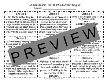 Martin Luther King Jr. Reading and Writing Response Choice Board