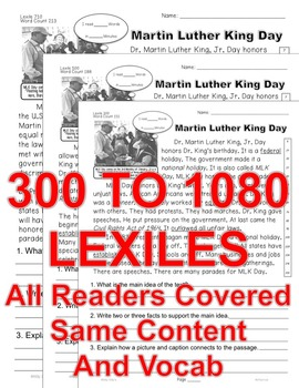 Martin Luther King DAY CLOSE READING LEVEL PASSAGES Main Idea Fluency Check TDQs