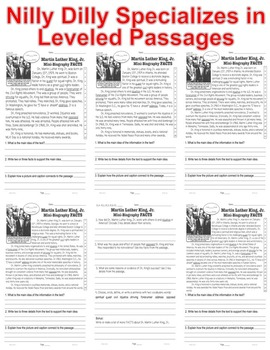 Dr. Martin Luther King Jr. CLOSE READING 5 LEVEL PASSAGES Main Idea Fluency TDQs