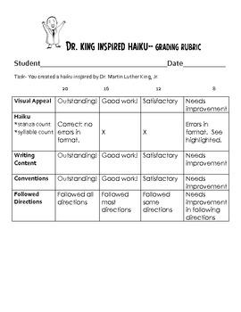 Dr. Martin Luther King, Jr. Inspired HAIKU writing activity