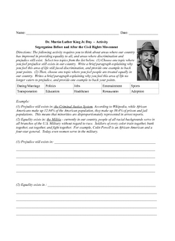 Dr. Martin Luther King Jr. Reading Activities Middle School
