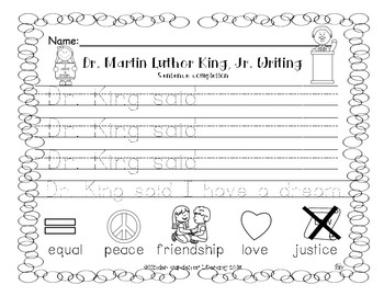 Writing-Dr. Martin Luther King, Jr Sentence Starter