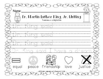 Writing-Dr. Martin Luther King, Jr Sentence Starter