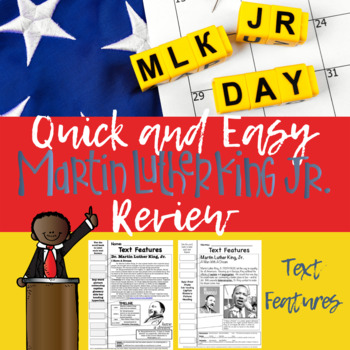 Dr Martin Luther King Jr Text Features Pages Mlk Day Review By Mrs