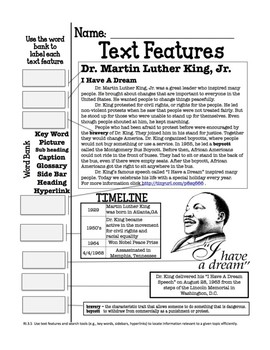 Dr. Martin Luther King Jr. Text Features SINGLE Page