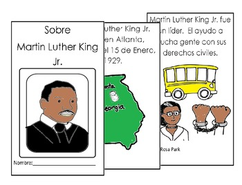 Dr Martin Luther King Spanish Coloring Reading 8 pg bookle