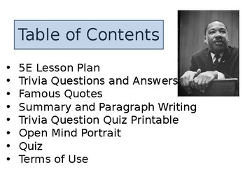 Dr. Martin Luther King Trivia, Quotes, and Writing Activities