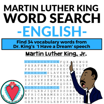 Martin Luther King Jr WORD SEARCH (English) MLK Day