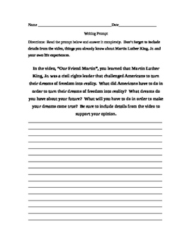 Dr. Martin Luther King Writing Prompt to accompany video M