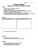 """Dr. Martin Luther King's """"I Have a Dream"""" speech questions"""