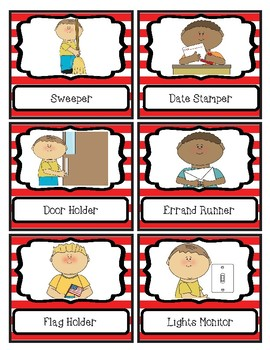 Dr S Inspired Classroom Job Cards - Red and White Stripes