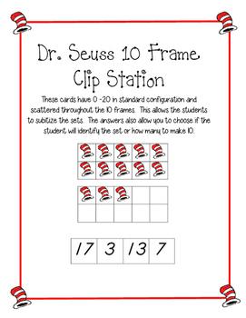 Dr Seuss 10 Frame Clip Activity