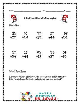 Dr. Seuss 2-Digit Addition with Regrouping