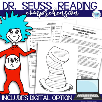 Dr. Seuss reading comprehension passage with activities.  Grades 3-5