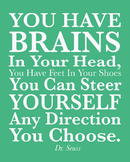 Dr. Seuss 8x10 jpg quote, You have Brain in your head Dr.
