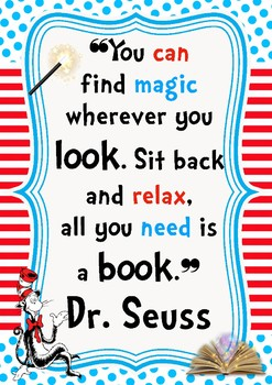 Dr. Seuss A3 Poster Library quote display