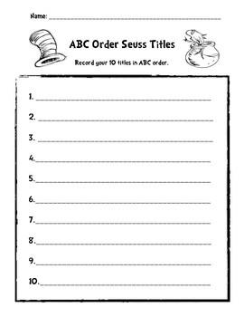 Dr. Seuss ABC Order Title
