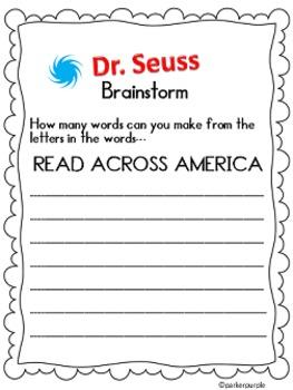 Dr. Seuss Activities first, second, third grade